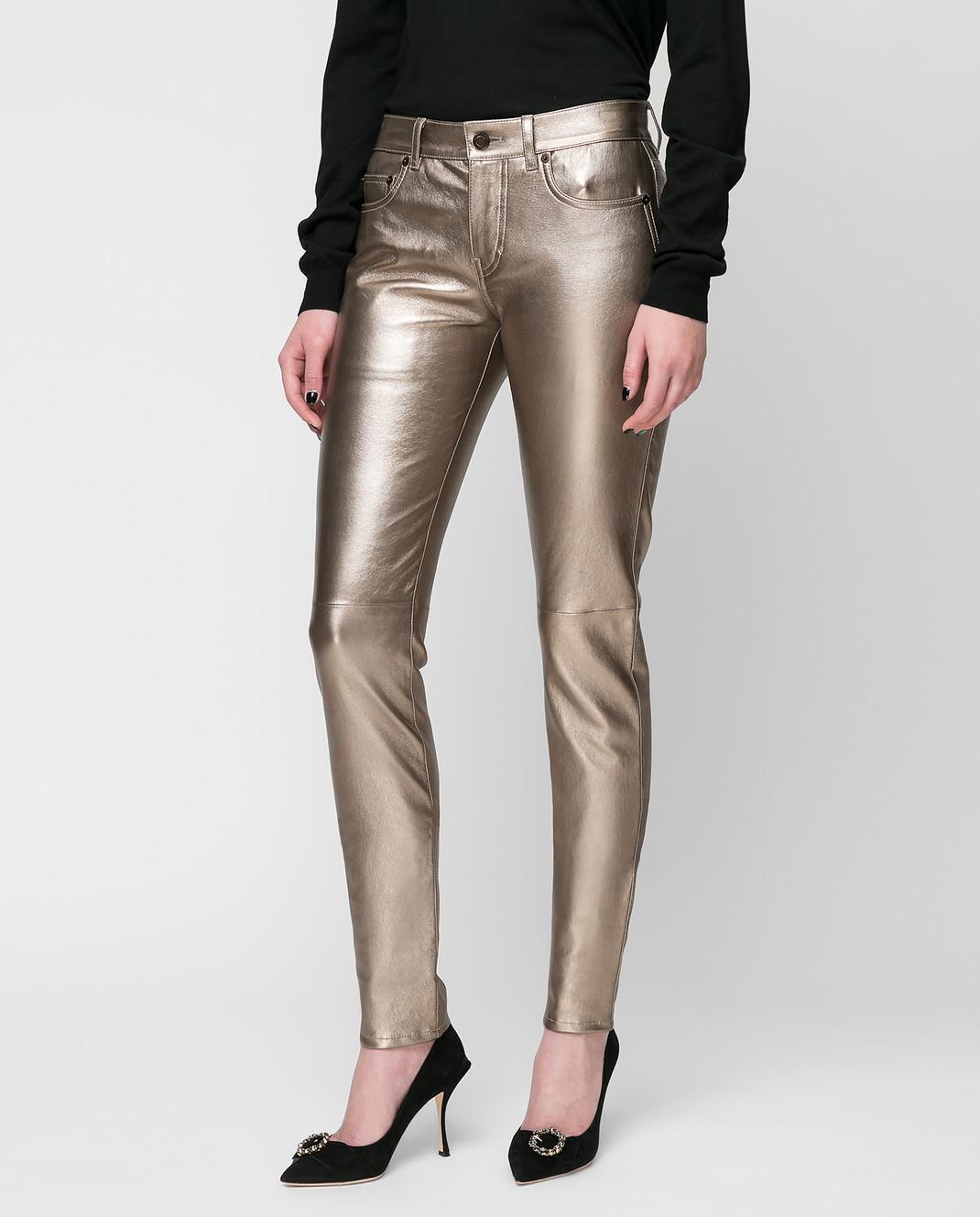Saint Laurent Золотистые брюки изображение 3
