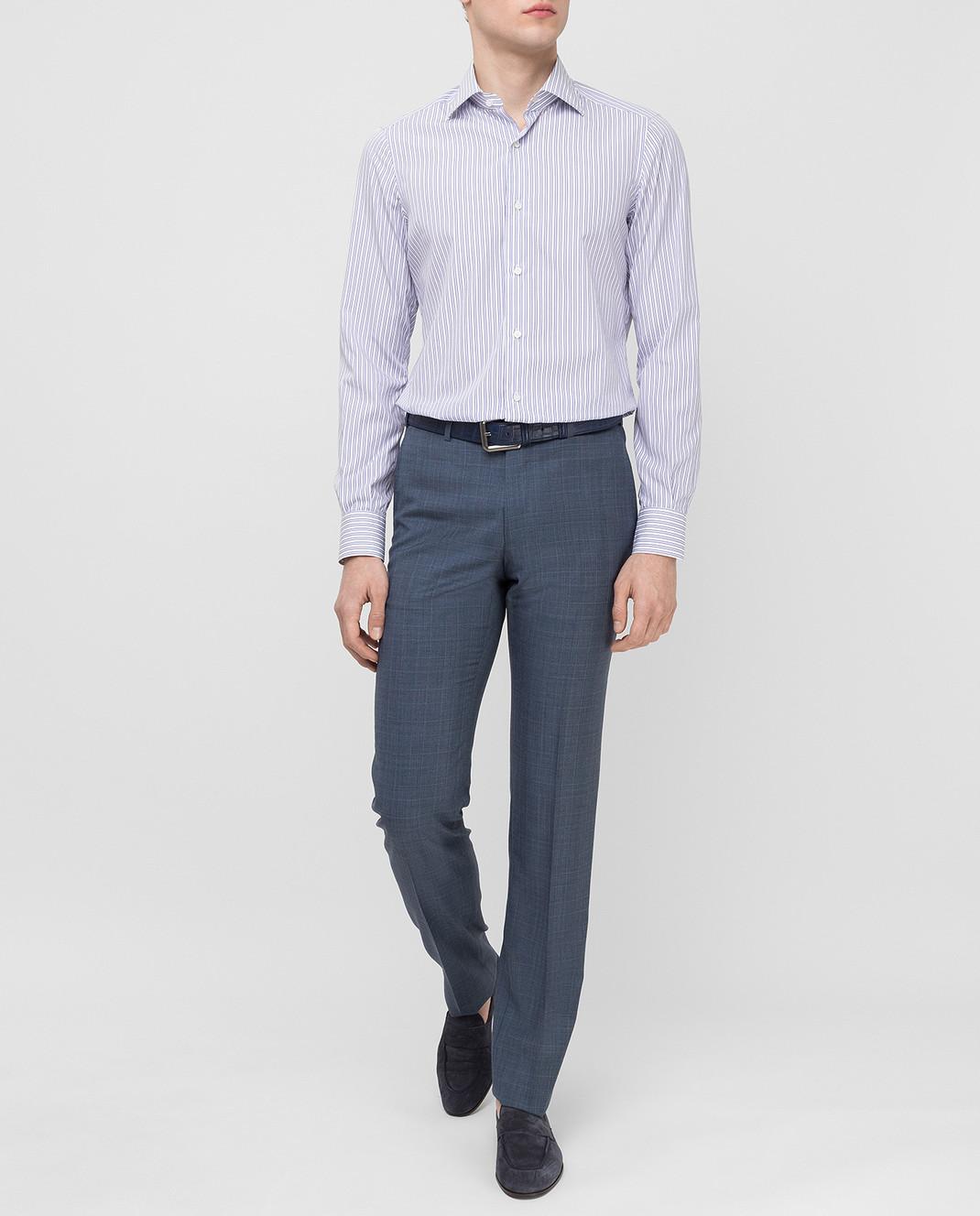 ISAIA Синие брюки из шерсти 0073153629F изображение 2