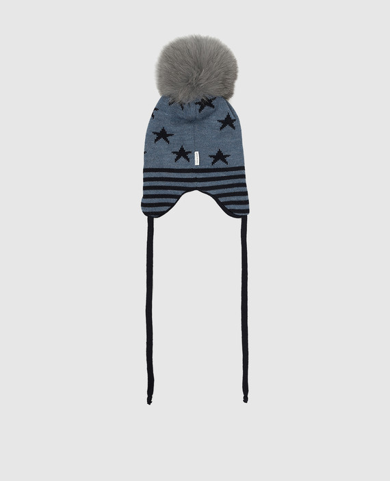 Детская синяя шапка из шерсти hover