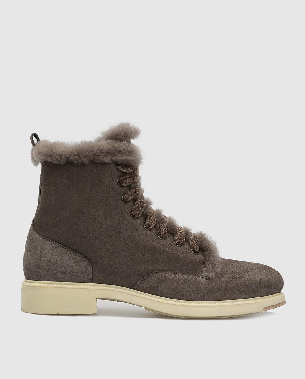 Santoni Темно-серые замшевые ботинки на меху WTEK58384SCOAEYT