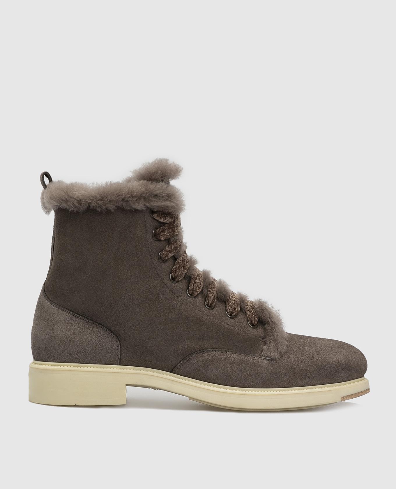 Темно-серые замшевые ботинки на меху