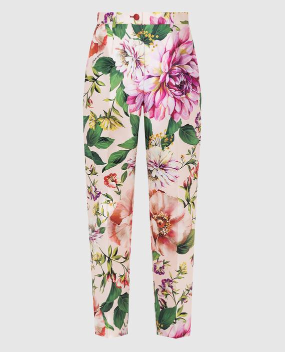 Пудровые брюки из шелка