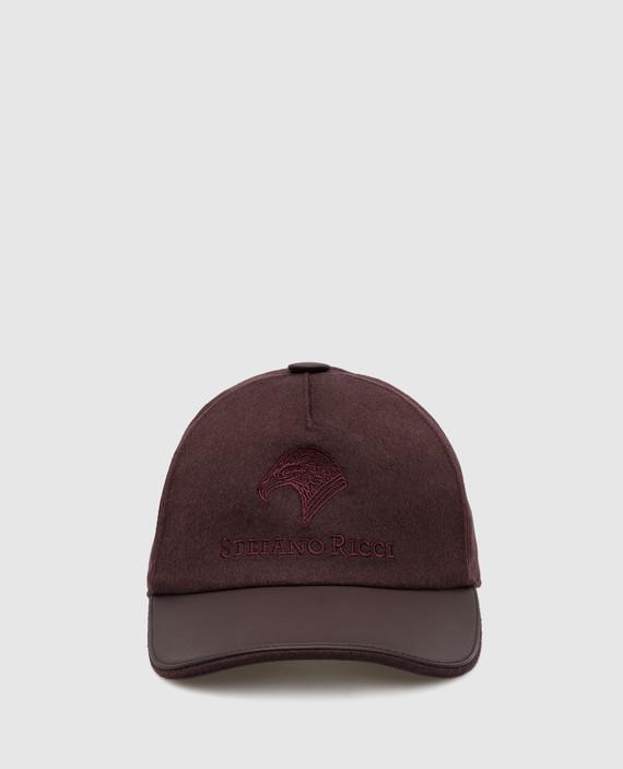Бордовая кепка из кашемира