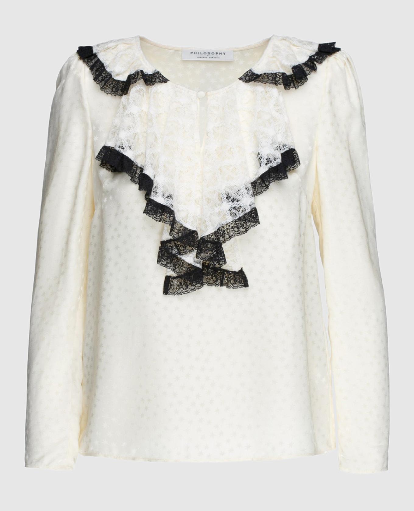 Белая блуза из шелка с кружевным жабо