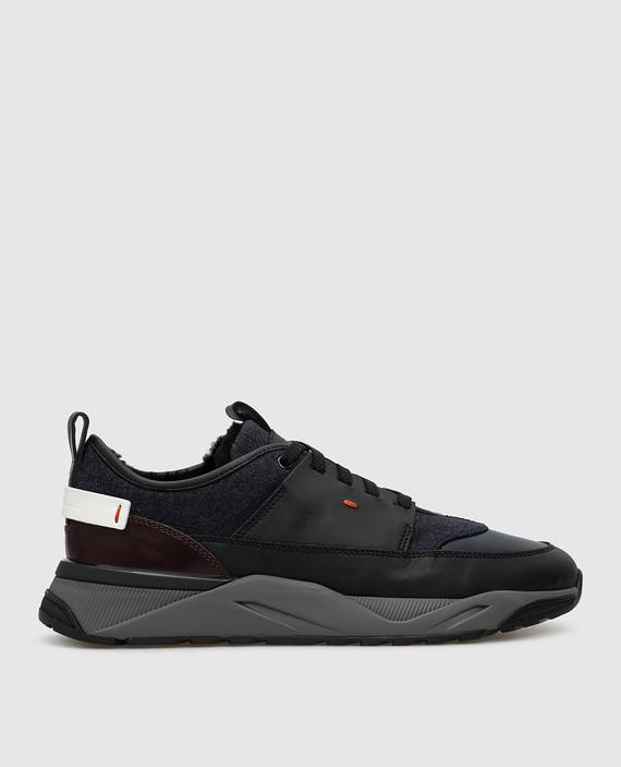 Темно-синие кроссовки на меху