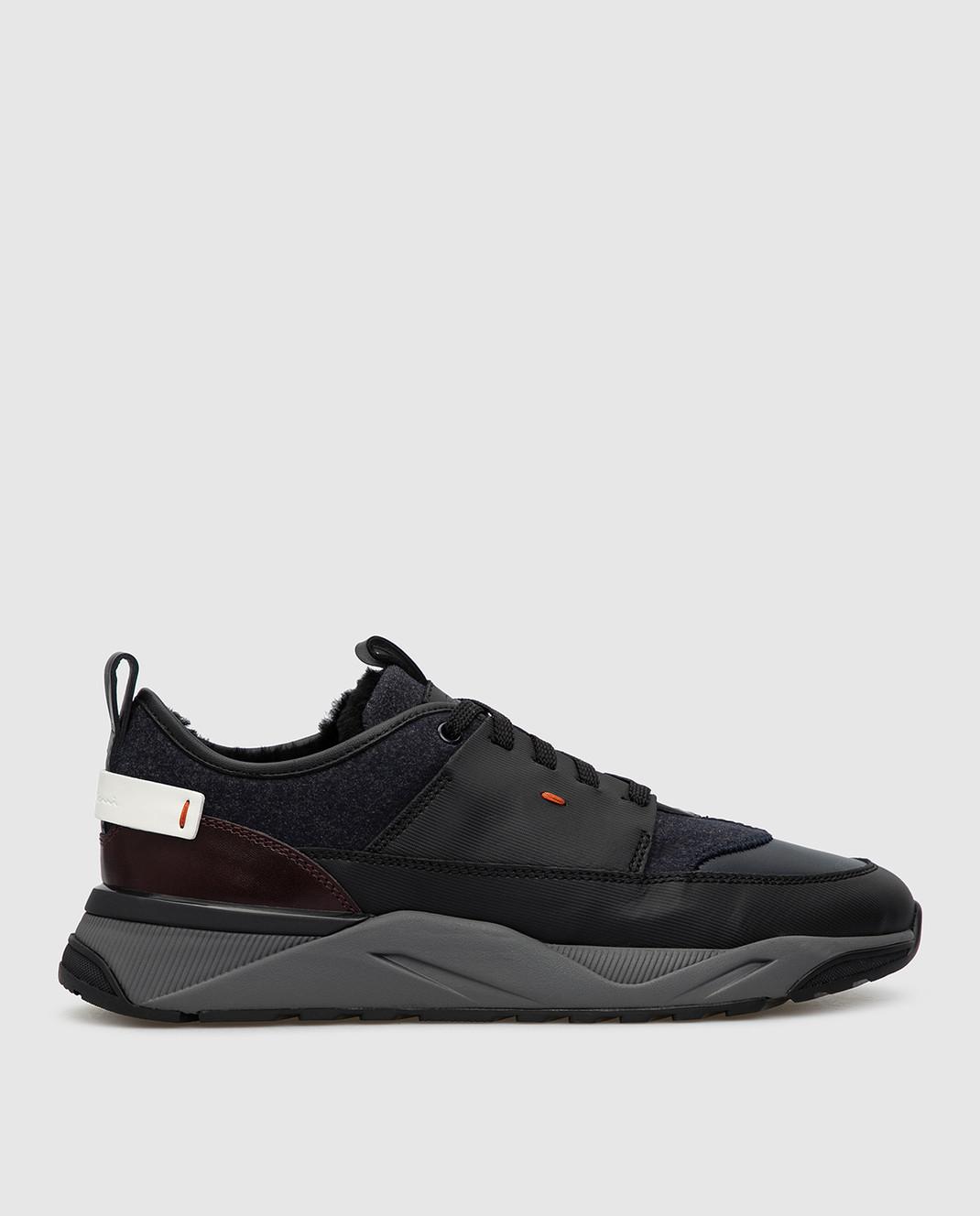 Santoni Темно-синие кроссовки изображение 1
