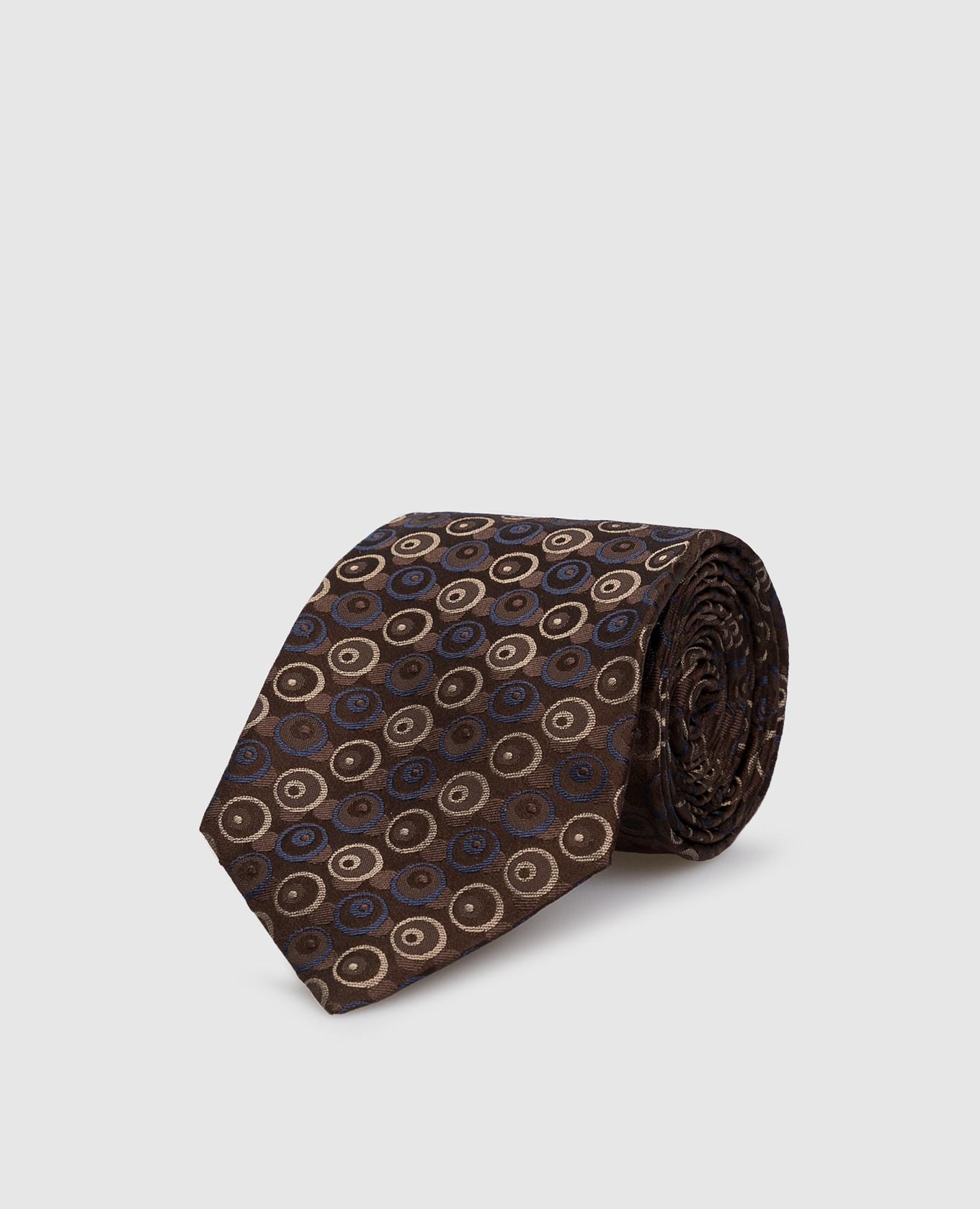 Коричневый галстук из шелка