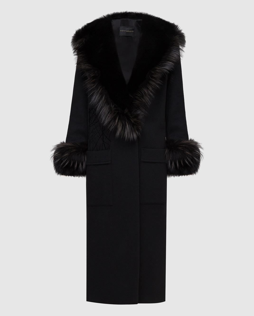 Rindi Черное пальто из кашемира с мехом лисы 277TE017