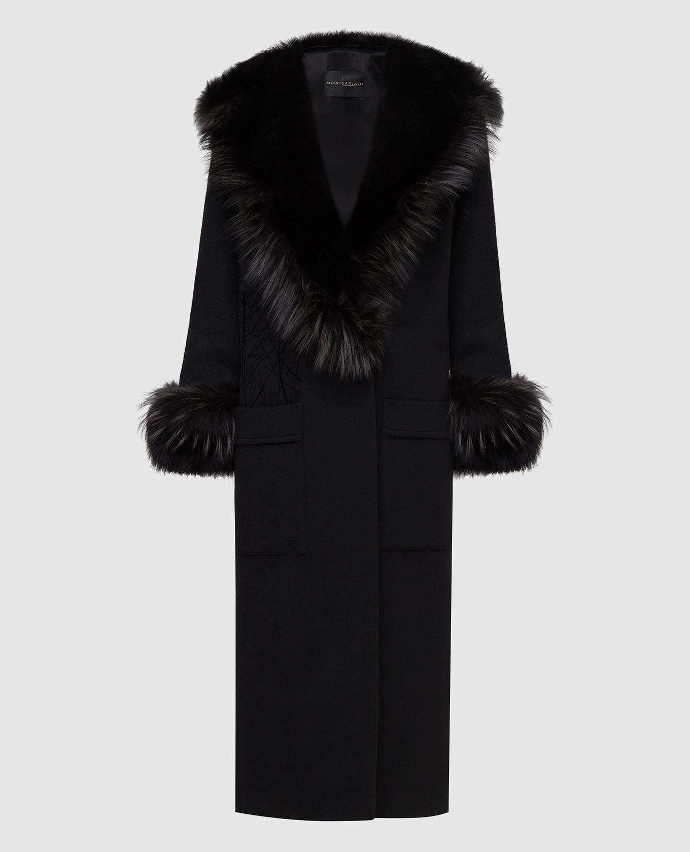 Черное пальто из кашемира с мехом лисы