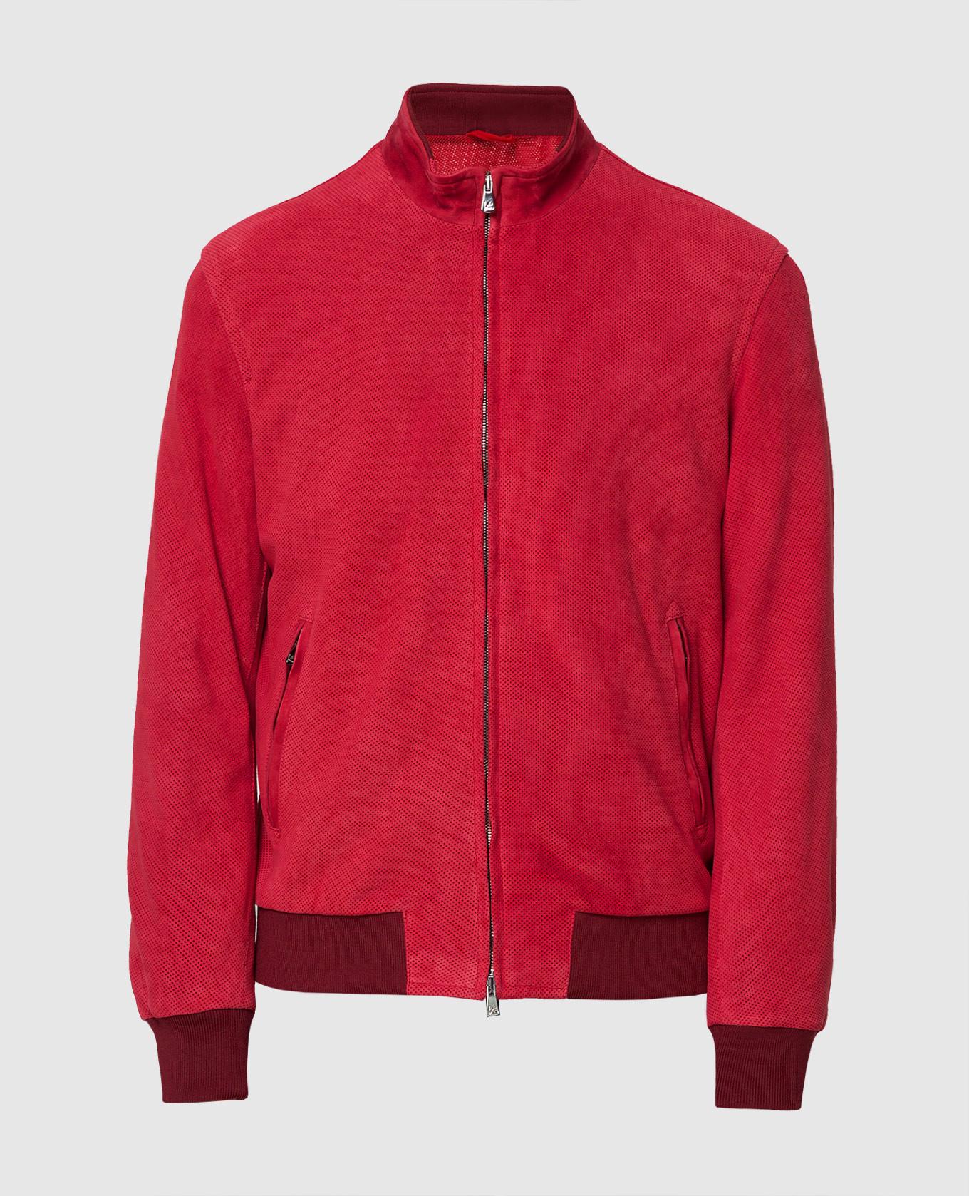 Бордовая замшевая куртка