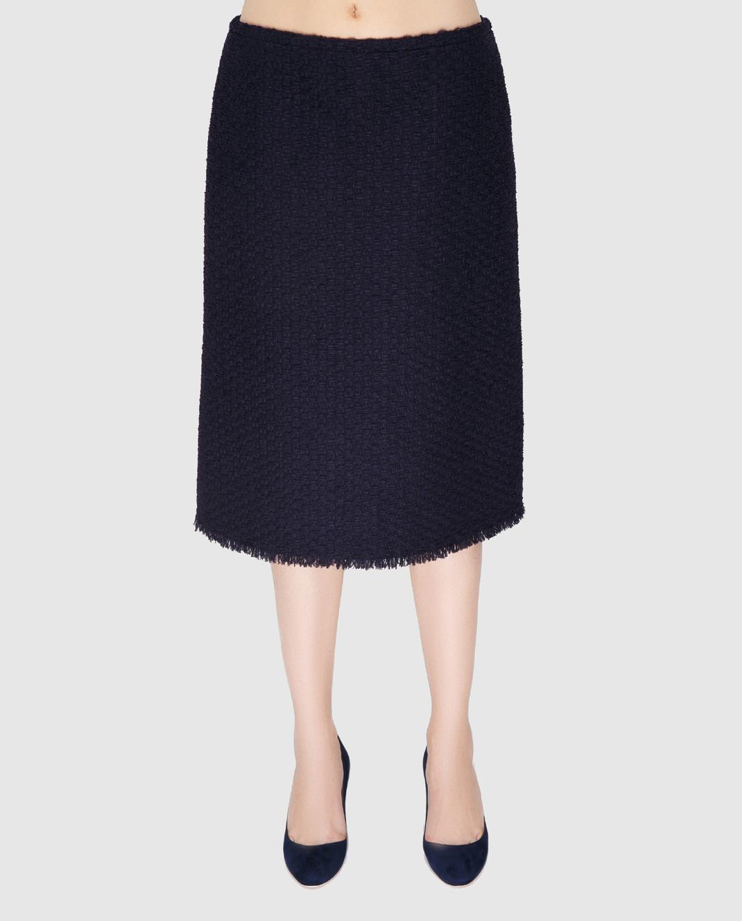 NINA RICCI Темно-синяя юбка 17PCJU023PA0341 изображение 3