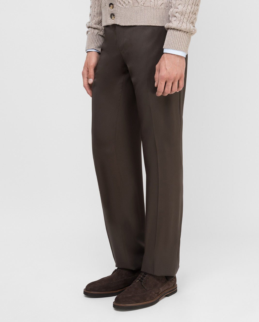 Castello d'Oro Темно-коричневые брюки из шерсти изображение 3