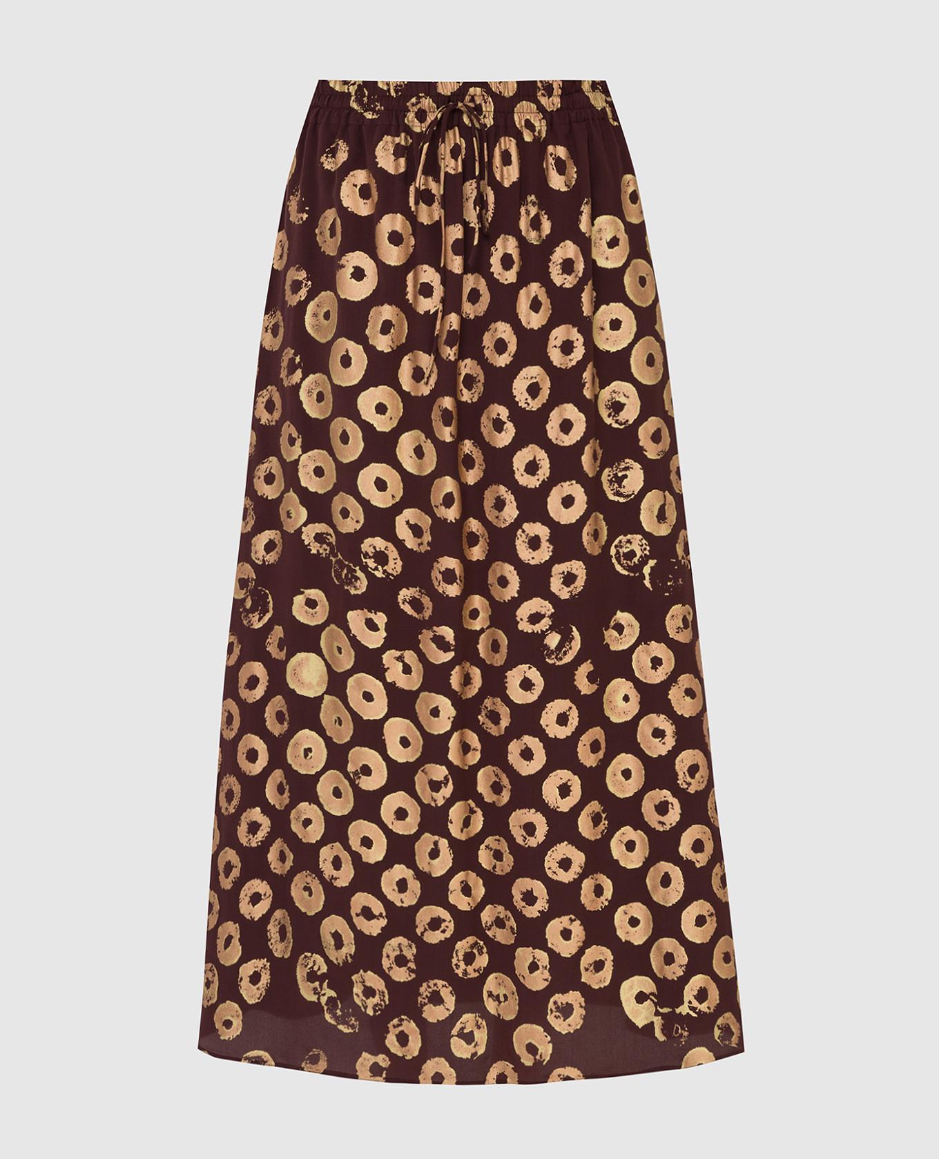 Коричневая юбка из шелка