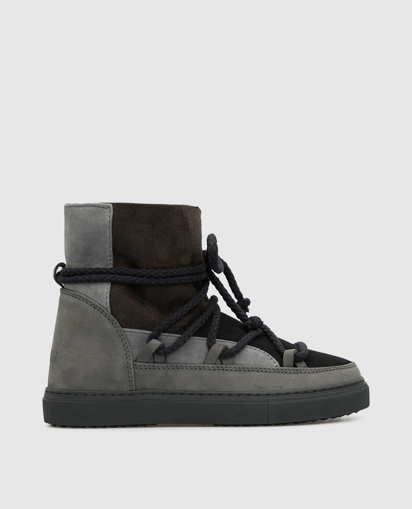 Детские темно-серые ботинки на меху