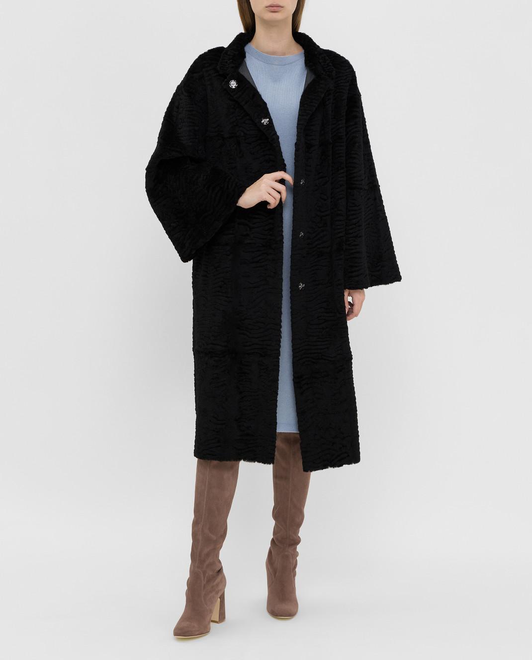 Giuliana Teso Черное пальто из меха кролика изображение 2
