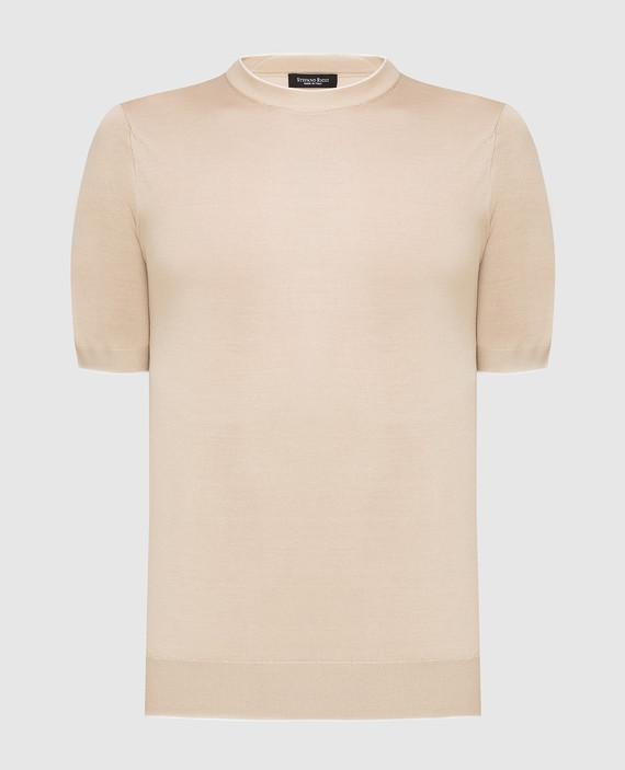 Светло-бежевая футболка из шелка