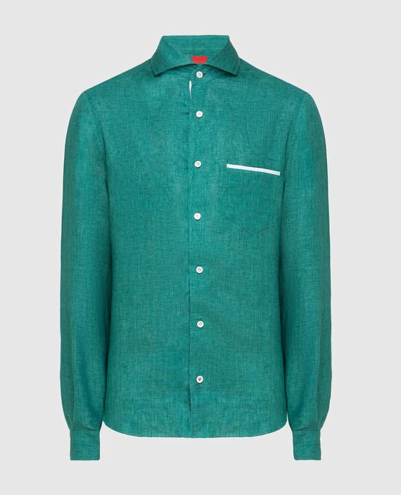 Зеленая рубашка из льна