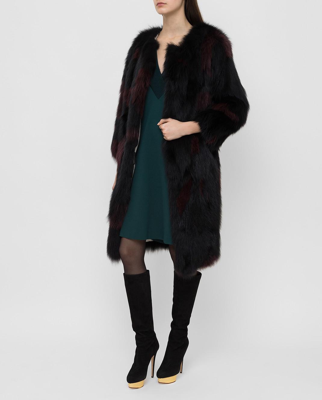 Simonetta Ravizza Черная шуба из меха лисы SONX3 изображение 2