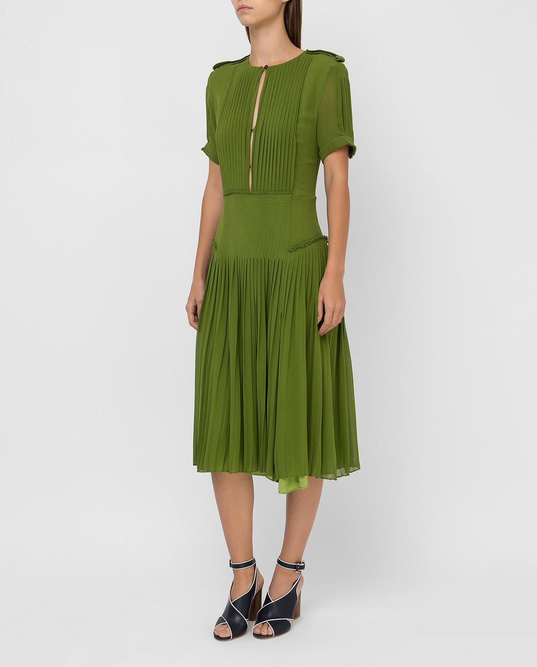 Burberry Зеленое платье из шелка изображение 3