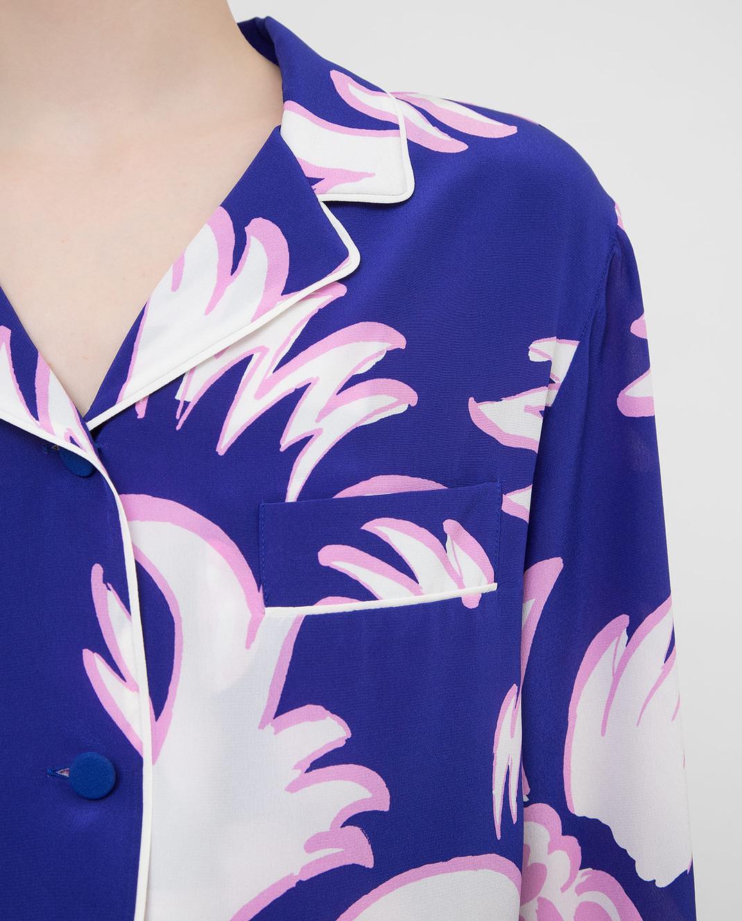 Valentino Фиолетовая блуза из шелка RB0AB0Y64HV изображение 5