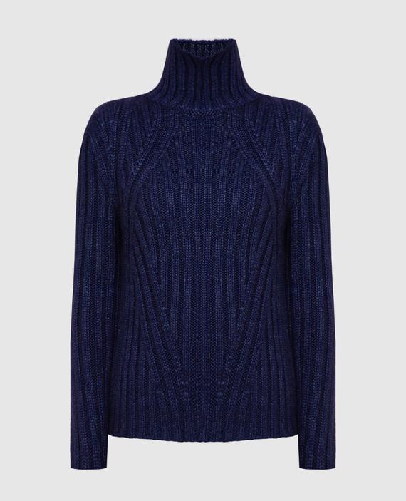 Темно-синий свитер из шелка, мохера и кашемира