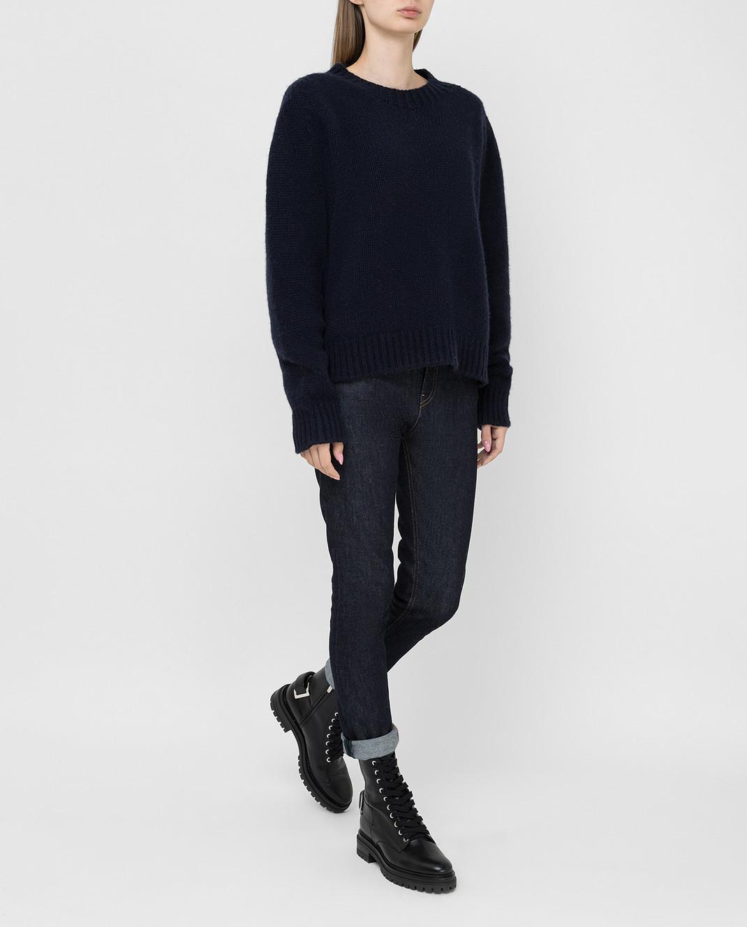 Lanvin Темно-синий свитер из кашемира изображение 2