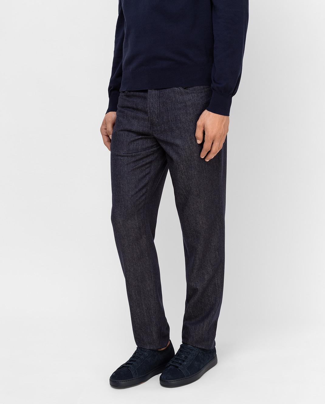 Brunello Cucinelli Темно-синие брюки из шерсти изображение 3