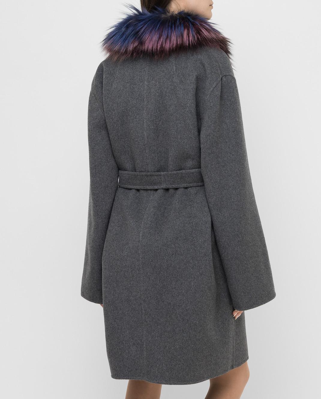Rindi Серое пальто из кашемира с мехом лисы 262TE017 изображение 4