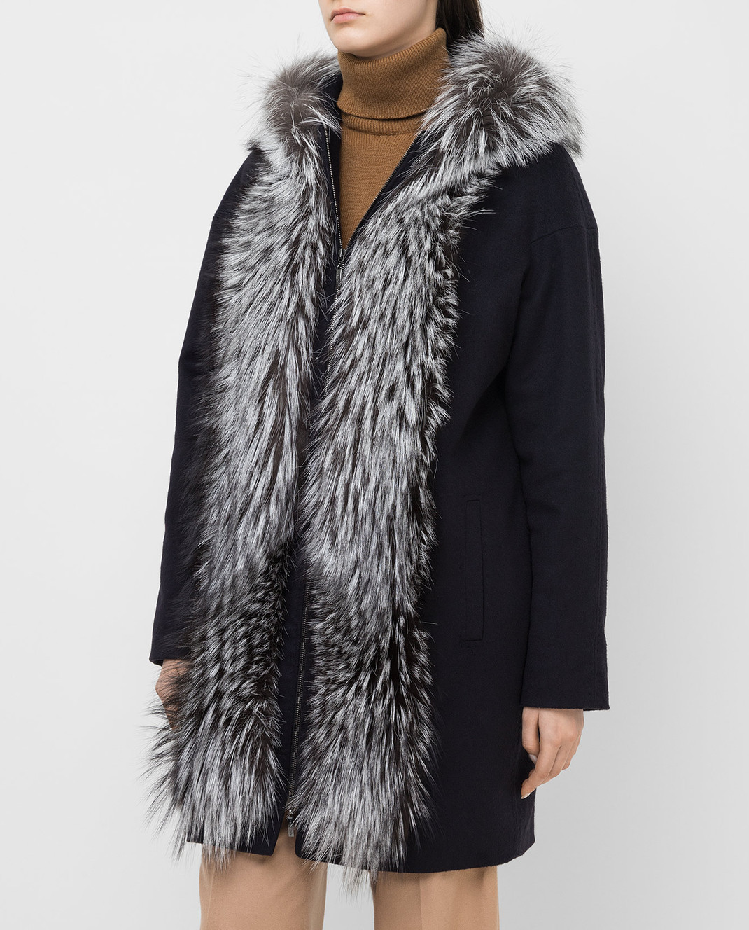 Via Cappella Темно-синее пальто из кашемира с мехом лисы P11785CASHMERE изображение 3