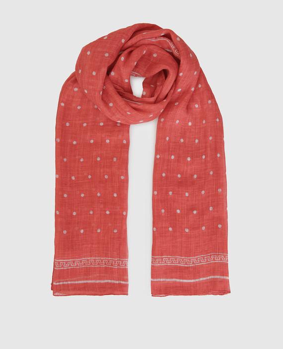 Коралловый шарф из льна