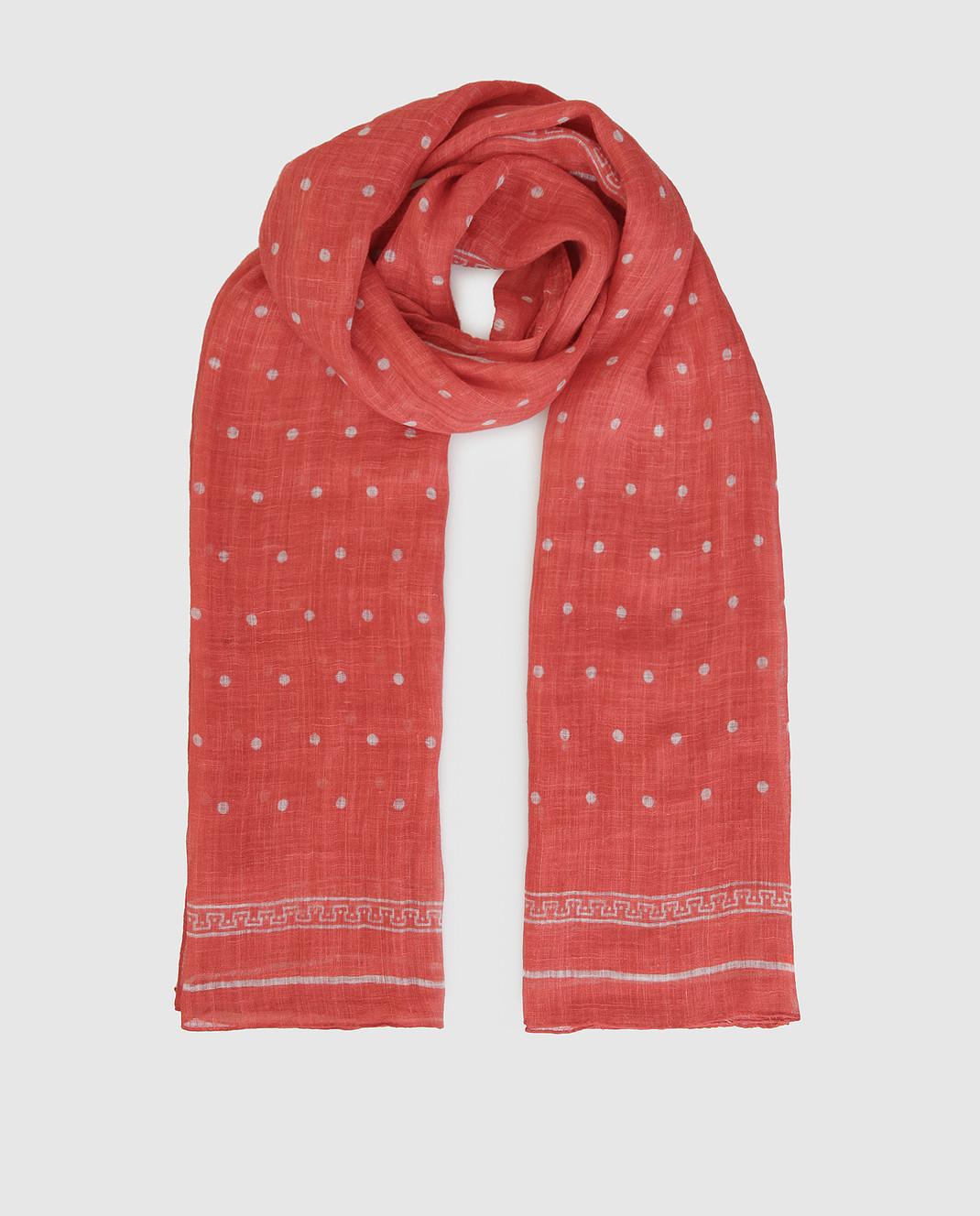 Brunello Cucinelli Коралловый шарф из льна MSC610AG