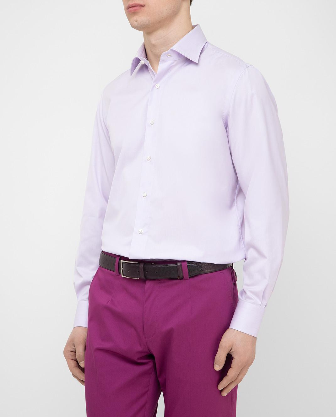 Luciano Lombardi Сиреневая рубашка 4653085 изображение 3