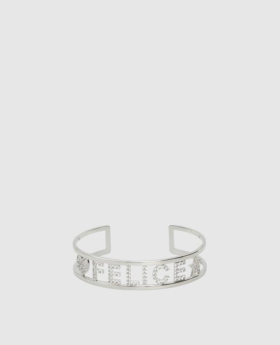 Серебристый браслет с кристаллами