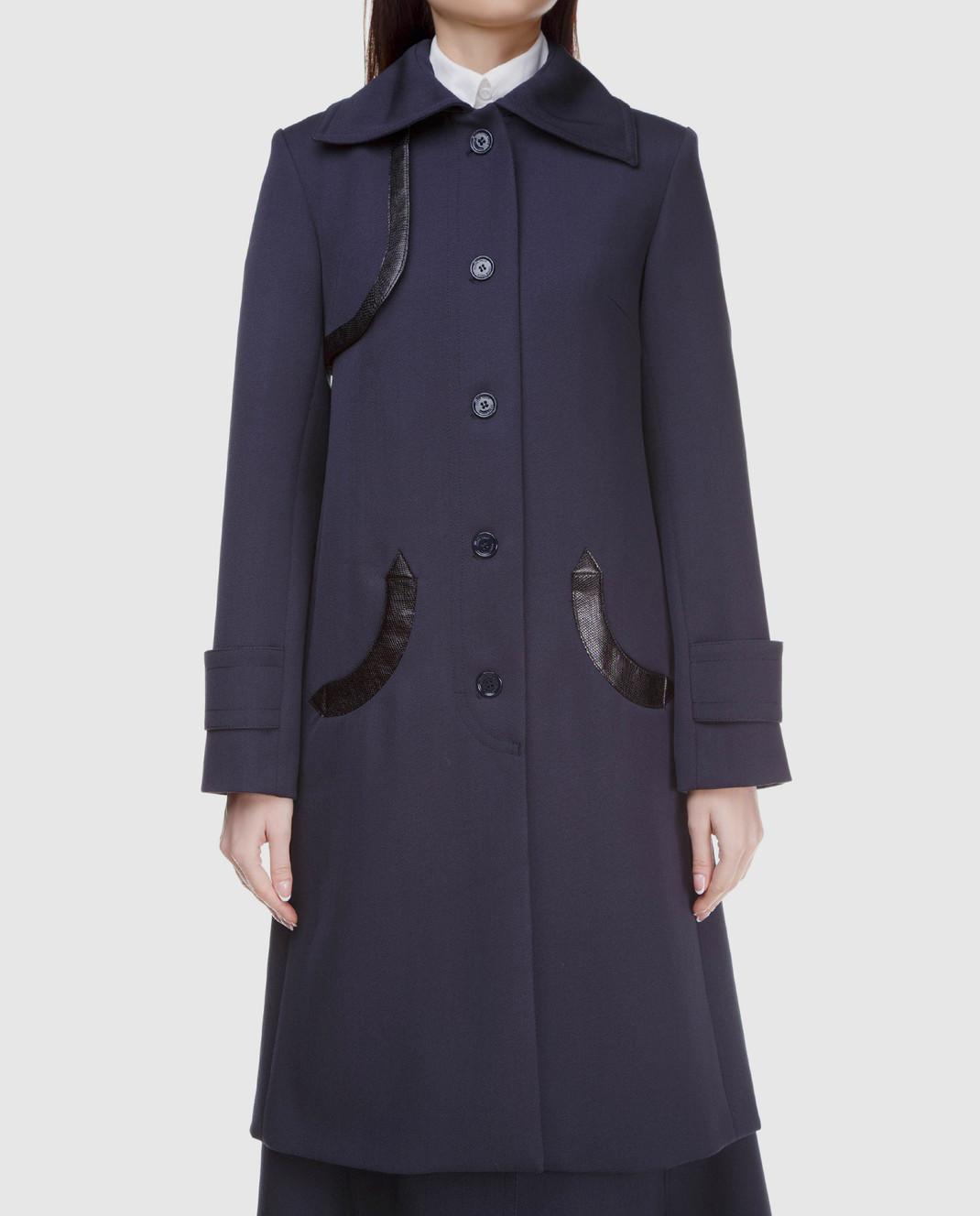 NINA RICCI Темно-синее пальто из шерсти 17HCMA016WV0220 изображение 3