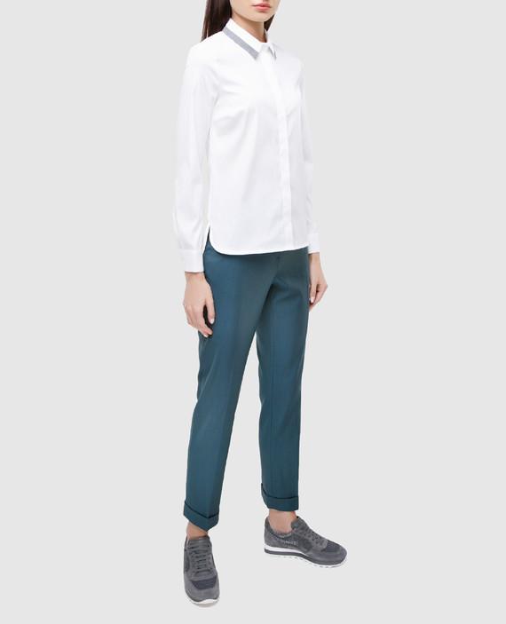Светло-синие брюки из шерсти hover
