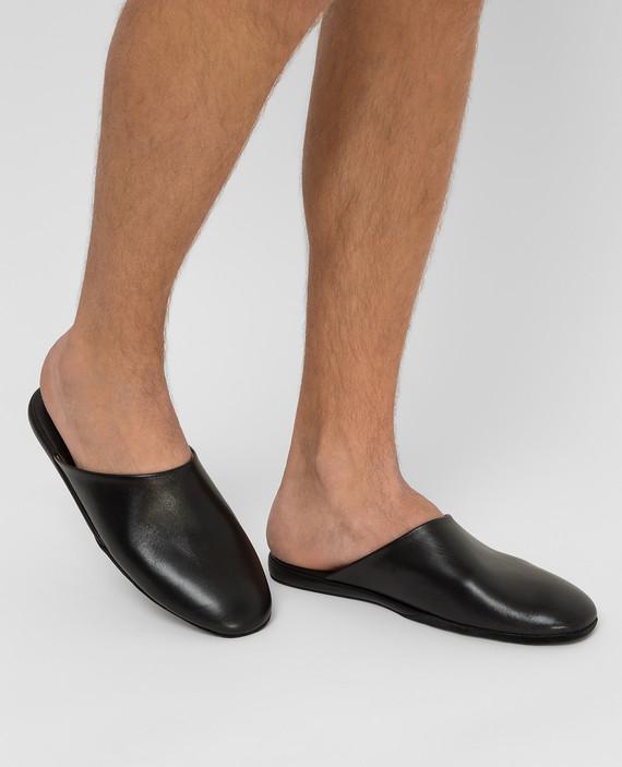 Черные кожаные тапочки hover