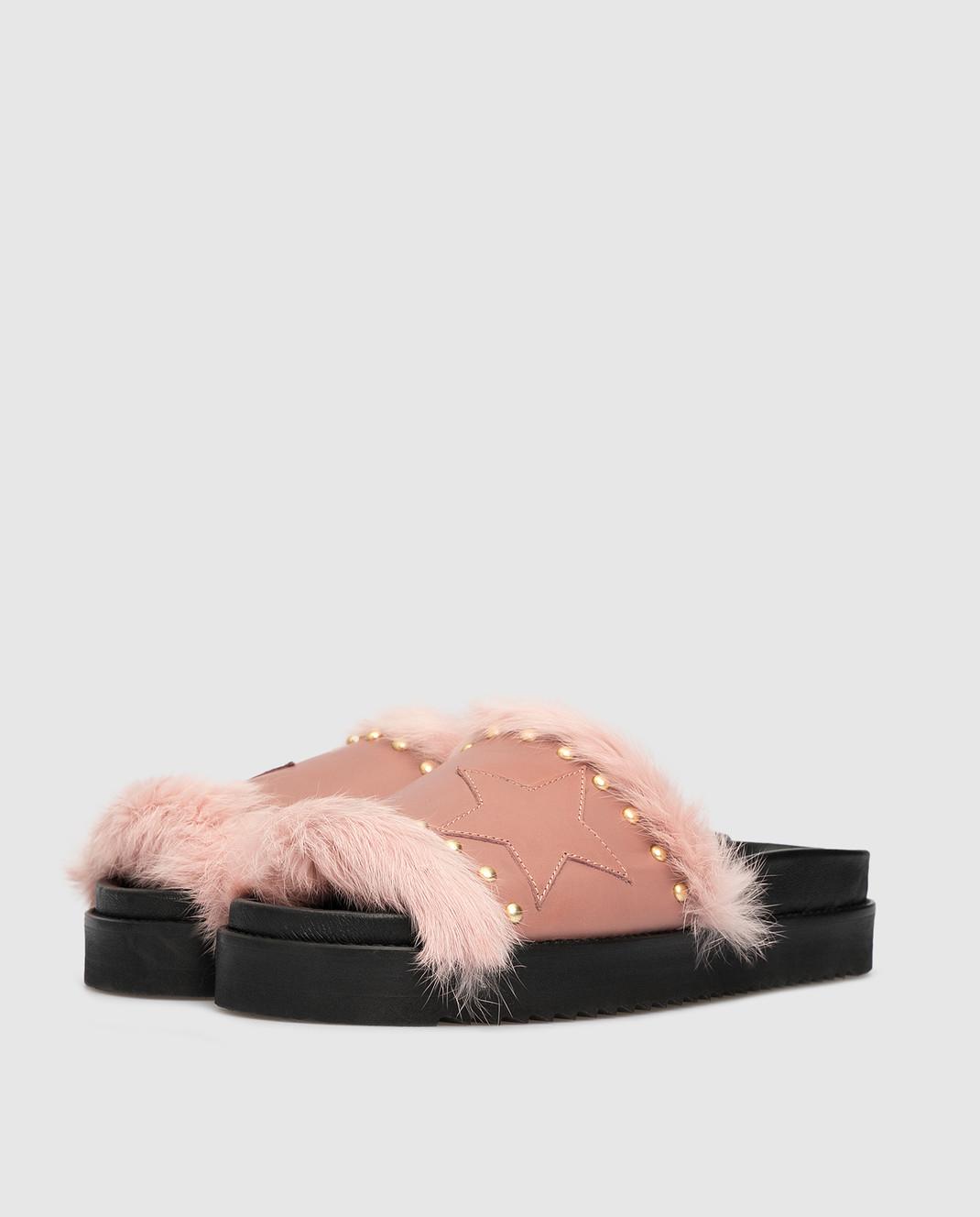 Pinko Розовые слайдеры с мехом 1P20S8 изображение 3