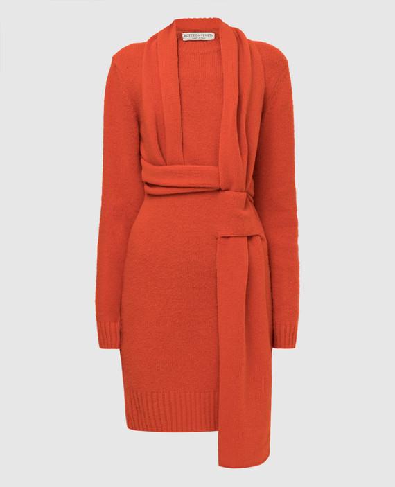 Оранжевое платье из шерсти
