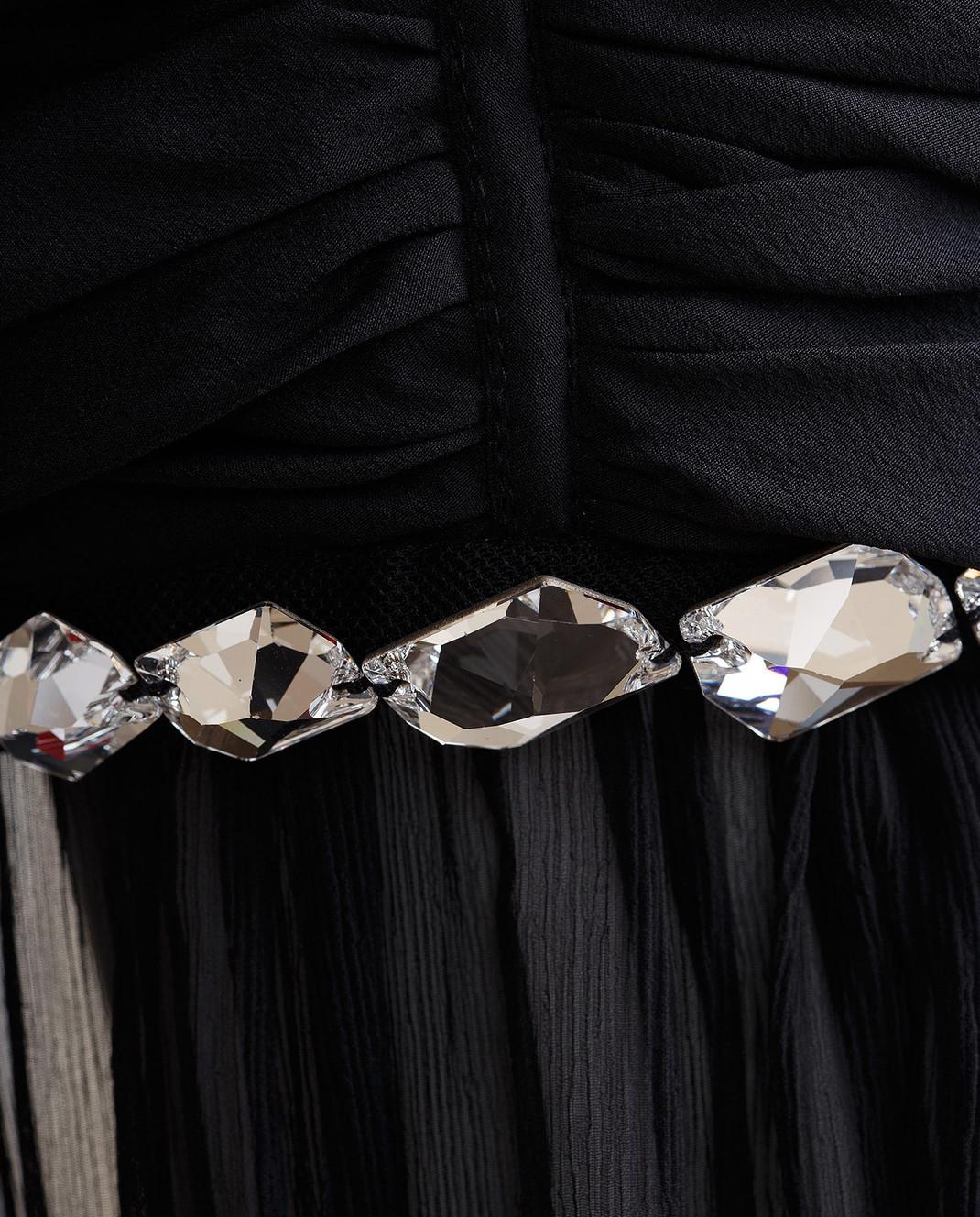 Blumarine Черное платье из драпированного шелка со шлейфом 58456 изображение 5