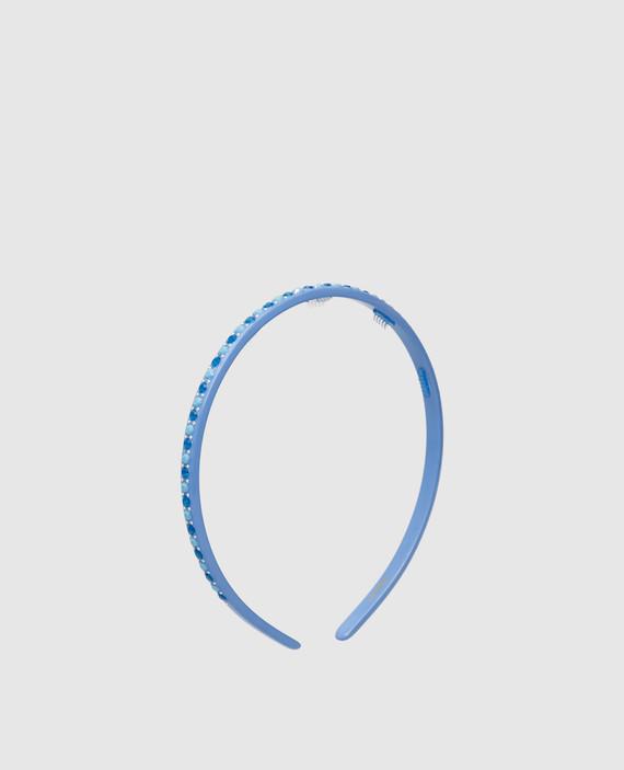 Голубой ободок с кристаллами hover