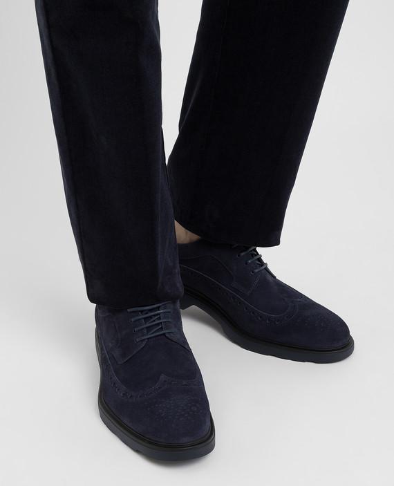 Темно-синие замшевые дерби hover