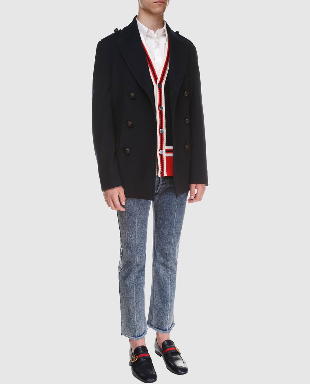 Gucci Темно-синее пальто из шерсти и кашемира 523628 изображение 2
