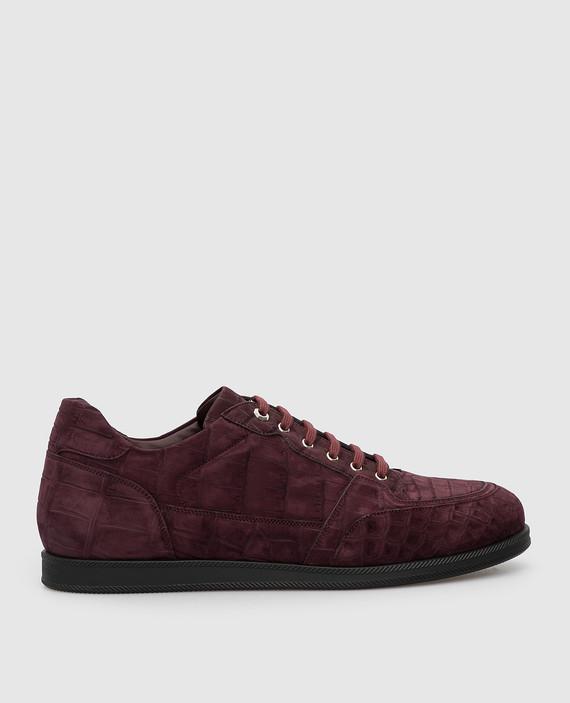 Бордовые кроссовки из кожи крокодила