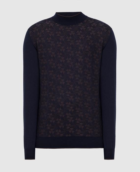 Темно-синий джемпер из кашемира и шелка