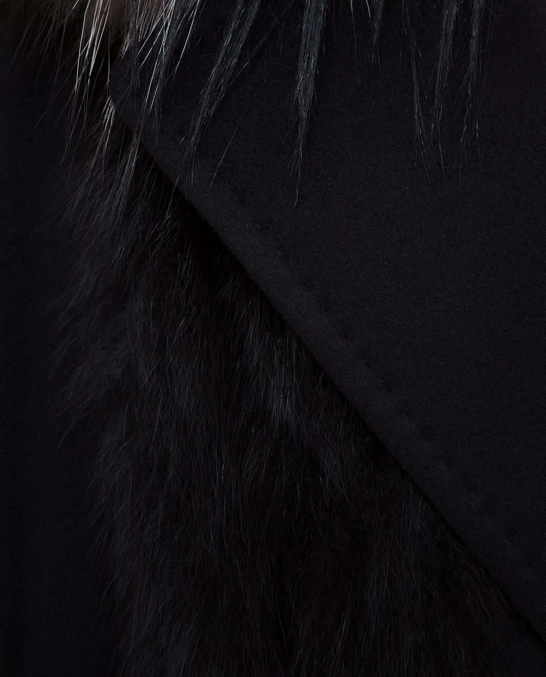 Giuliana Teso Черное пальто из шерсти и кашемира с мехом лисы 64C6060 изображение 5