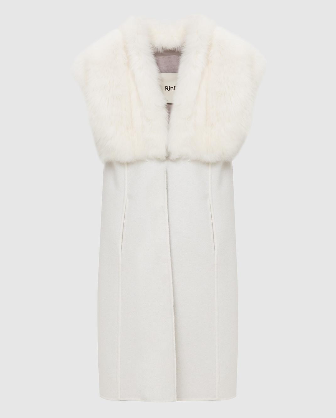 Rindi Светло-бежевое пальто из кашемира с мехом 426OR0R6BIANCO