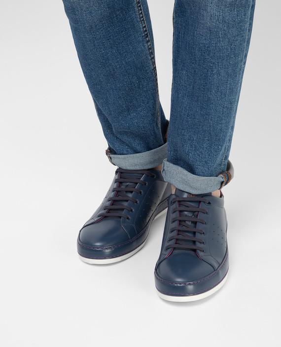 Темно-синие кожаные сникеры hover