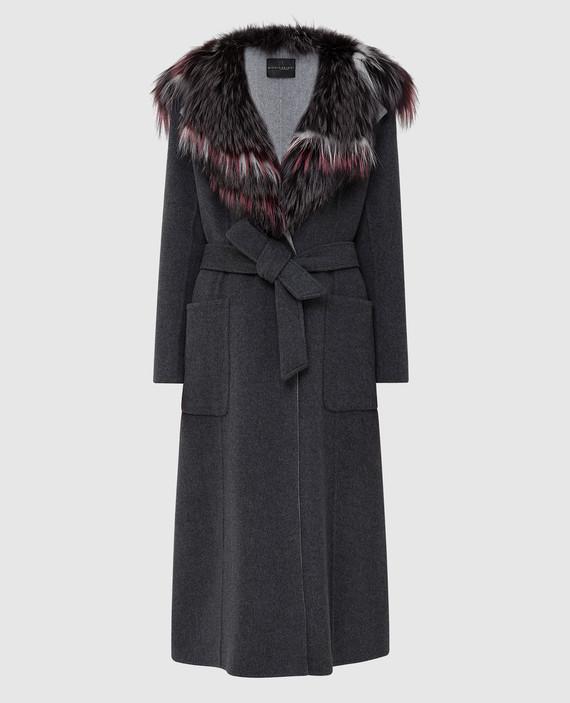 Серое пальто из шерсти и кашемира с мехом лисы