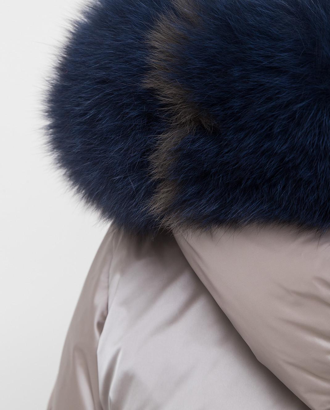 Florence Mode Серый пуховик с воротником из меха лисы 19CA15 изображение 5