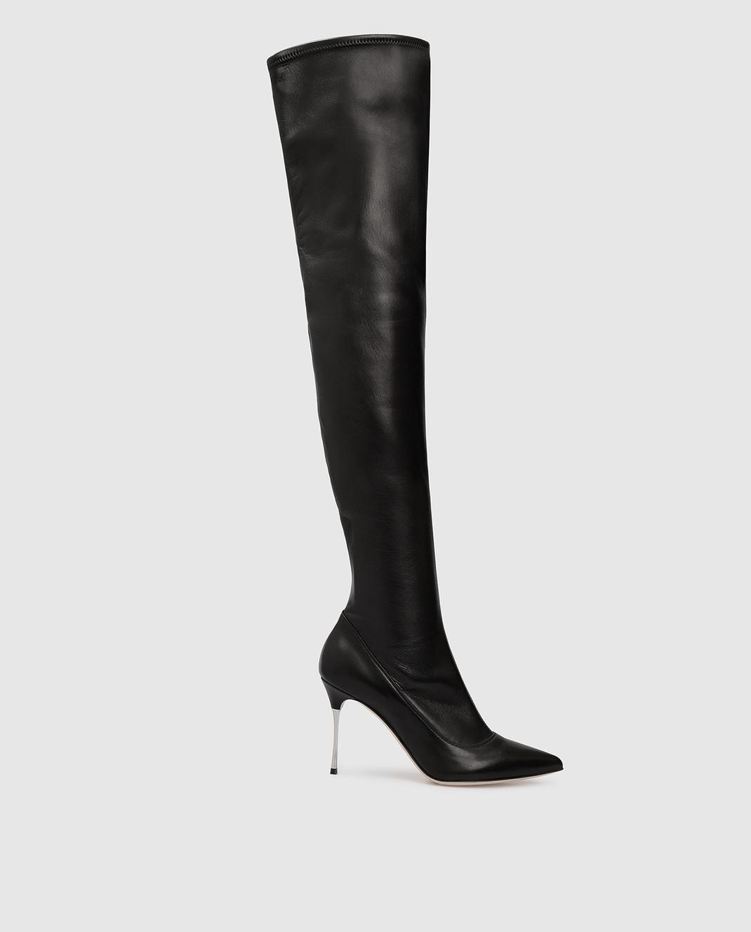Sergio Rossi Черные кожаные ботфорты A85660MAF715